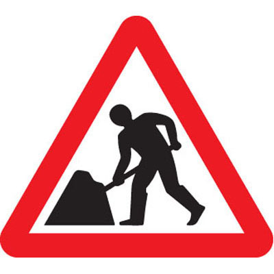 Fold up triangle men at work safety signs