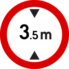 No entry for vehicles exceeding 3.5 metres height
