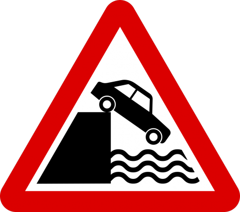 Riverbank with no barrier ahead