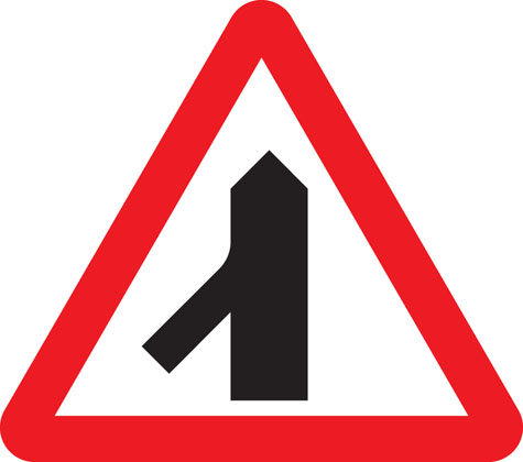 Traffic merging on the left