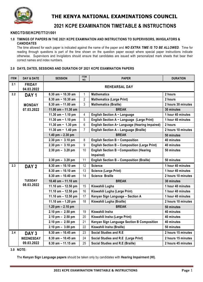 2021-KCPE-Timetable