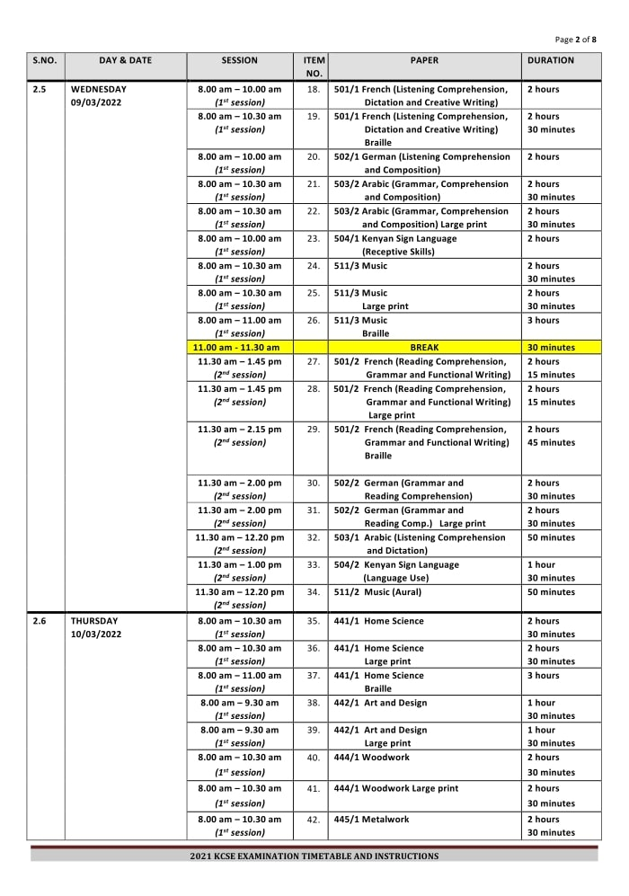 2021-KCSE-Timetable