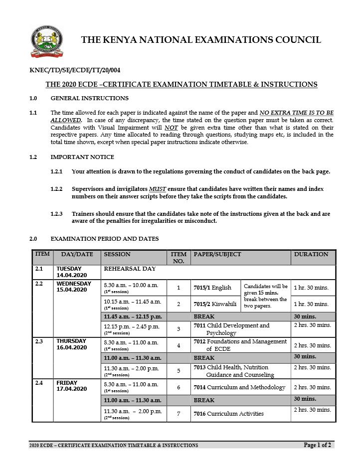 ECDE Certificate Timetable